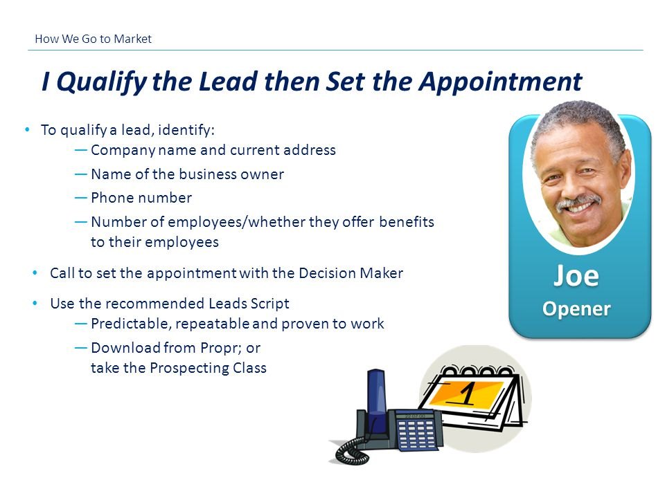 Joe Opener I Qualify the Lead then Set the Appointment