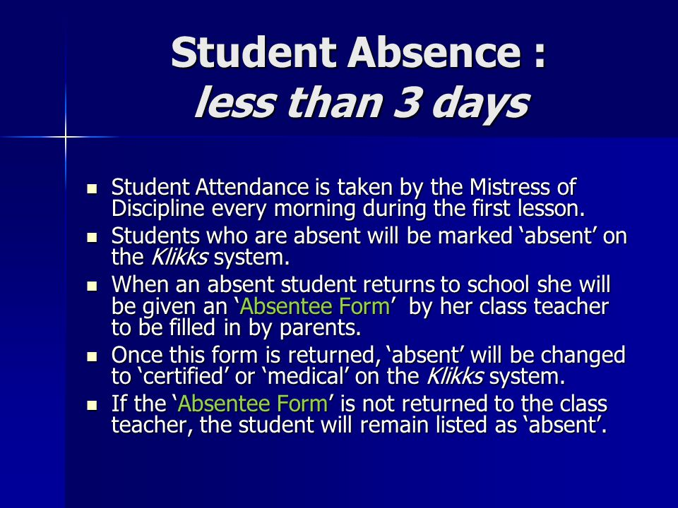 Student Absence : less than 3 days