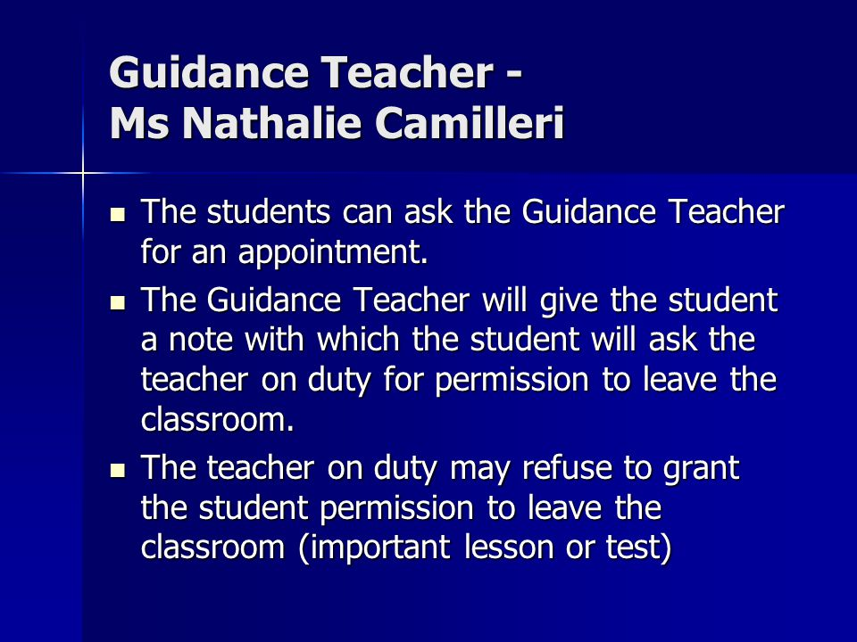 Guidance Teacher - Ms Nathalie Camilleri