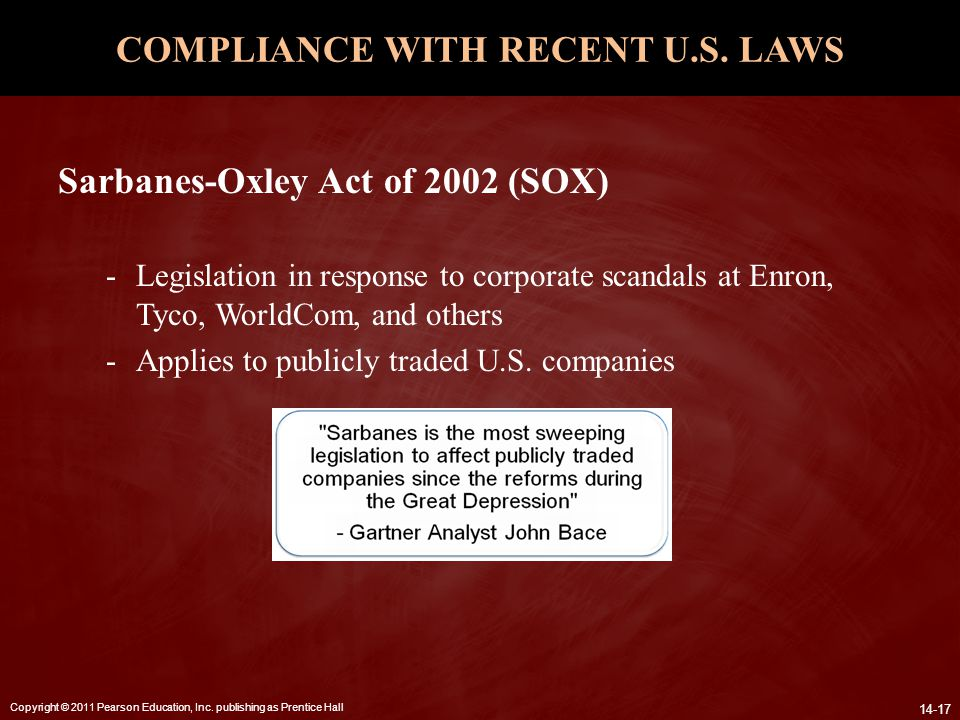 COMPLIANCE WITH RECENT U.S. LAWS