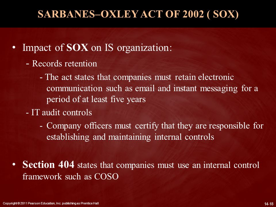 SARBANES–OXLEY ACT OF 2002 ( SOX)