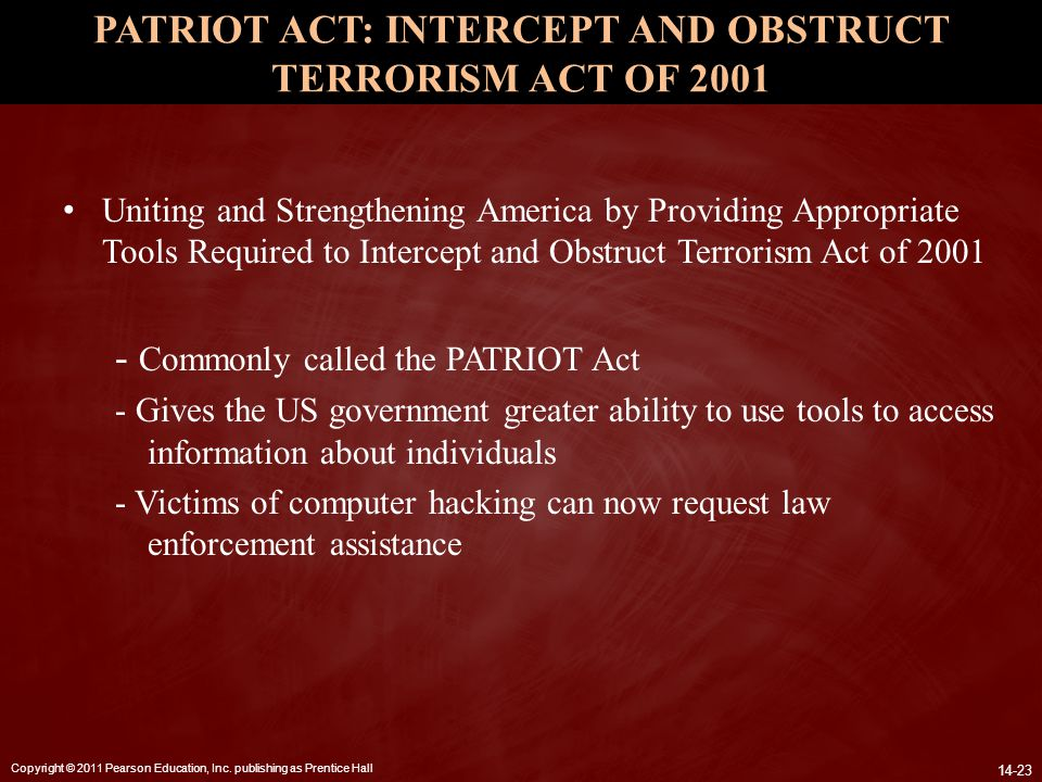 PATRIOT ACT: INTERCEPT AND OBSTRUCT TERRORISM ACT OF 2001