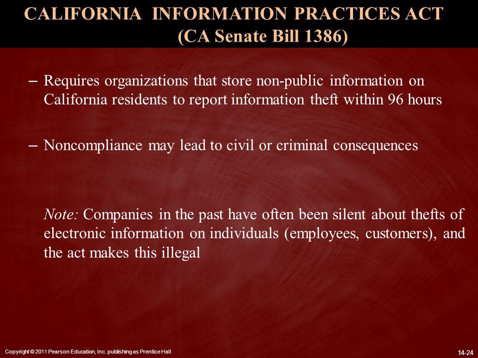 CALIFORNIA INFORMATION PRACTICES ACT (CA Senate Bill 1386)