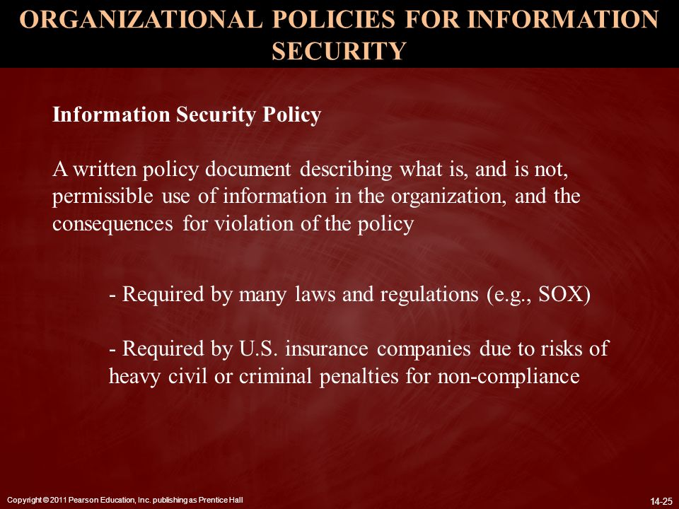 ORGANIZATIONAL POLICIES FOR INFORMATION SECURITY