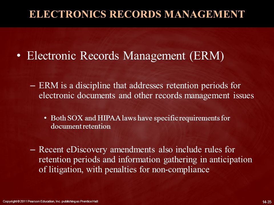 ELECTRONICS RECORDS MANAGEMENT