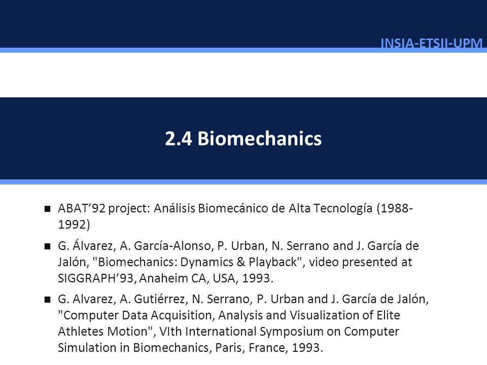 2.4 Biomechanics ABAT'92 project: Análisis Biomecánico de Alta Tecnología (1988-1992)