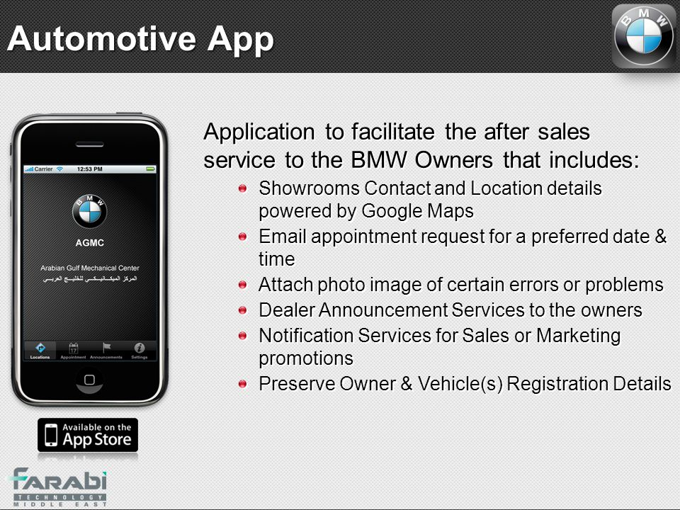 Automotive App Application to facilitate the after sales service to the BMW Owners that includes: