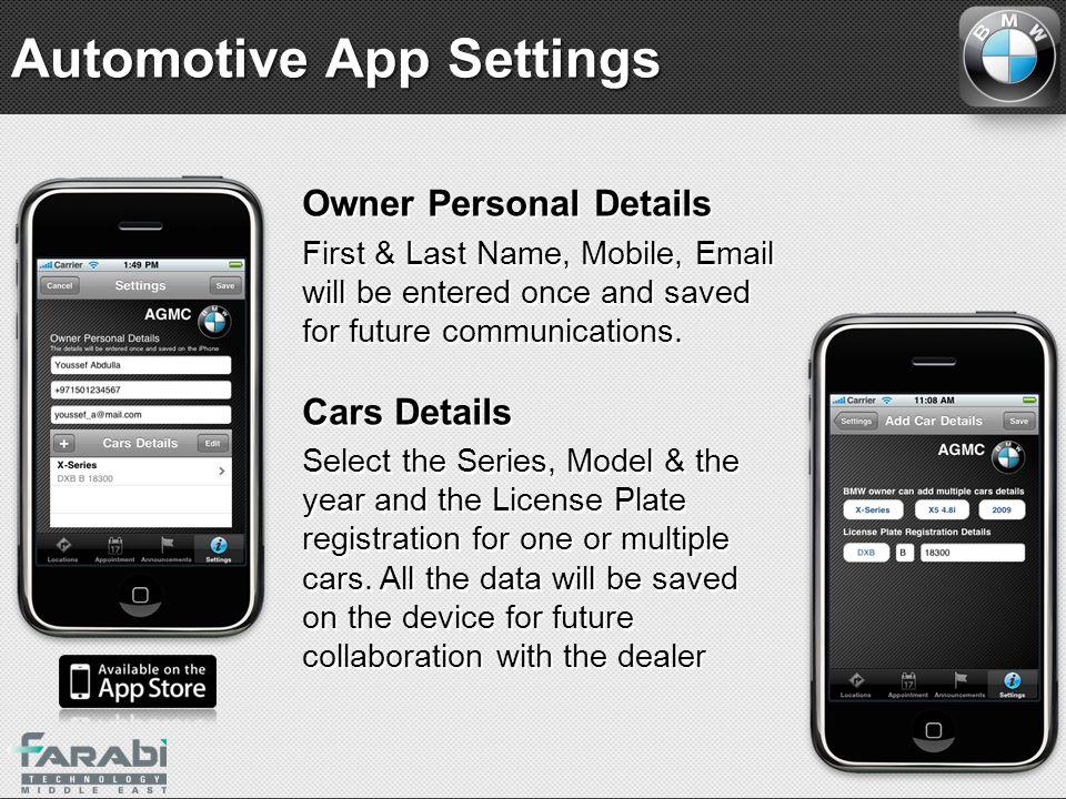 Automotive App Settings