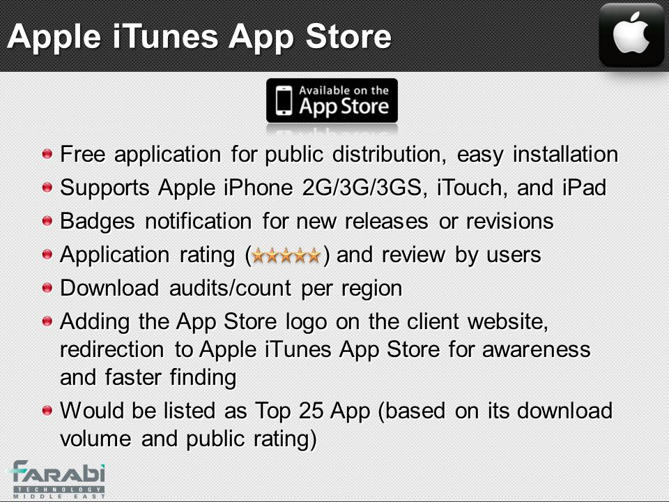 Apple iTunes App Store Free application for public distribution, easy installation. Supports Apple iPhone 2G/3G/3GS, iTouch, and iPad.