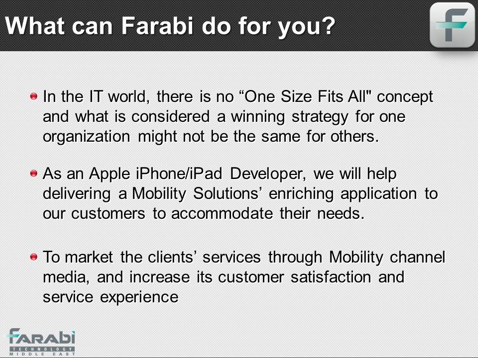 What can Farabi do for you