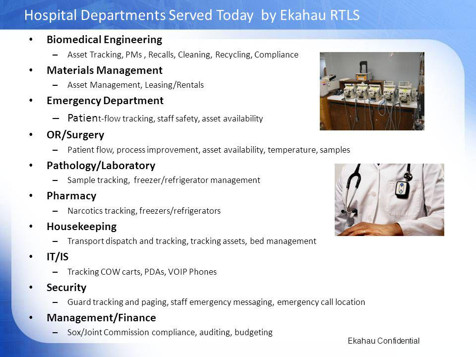 Hospital Departments Served Today by Ekahau RTLS