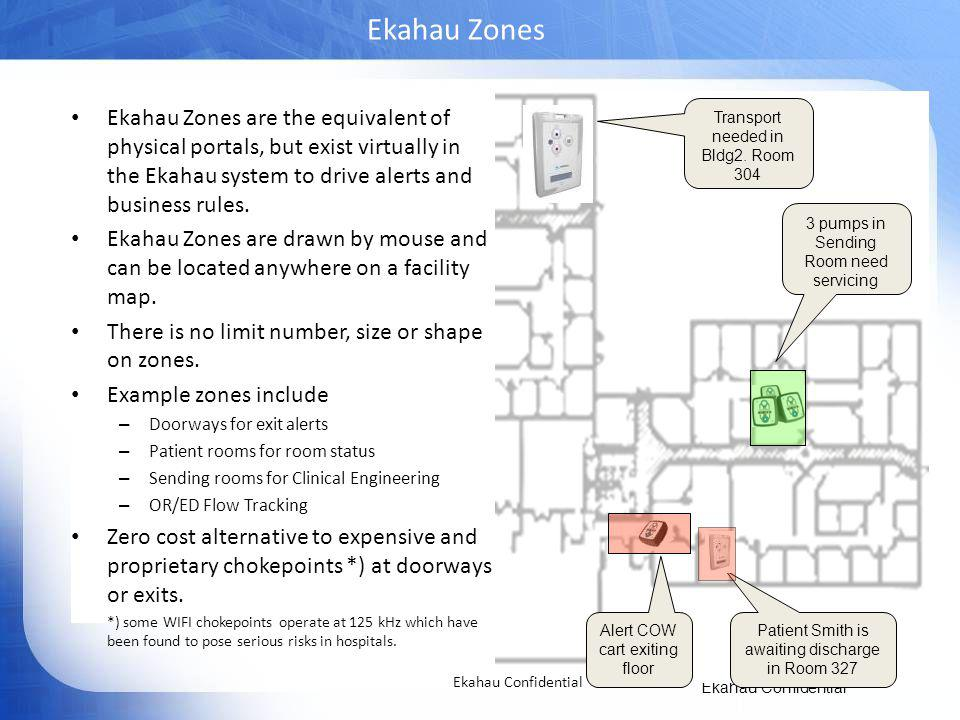 Ekahau Zones Ekahau Zones are the equivalent of physical portals, but exist virtually in the Ekahau system to drive alerts and business rules.