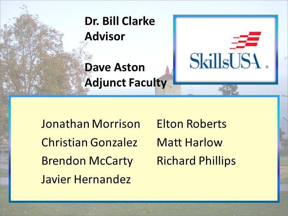 Dr. Bill Clarke Advisor Dave Aston Adjunct Faculty