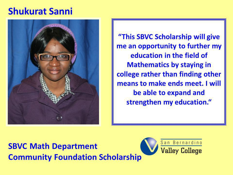 Shukurat Sanni SBVC Math Department Community Foundation Scholarship