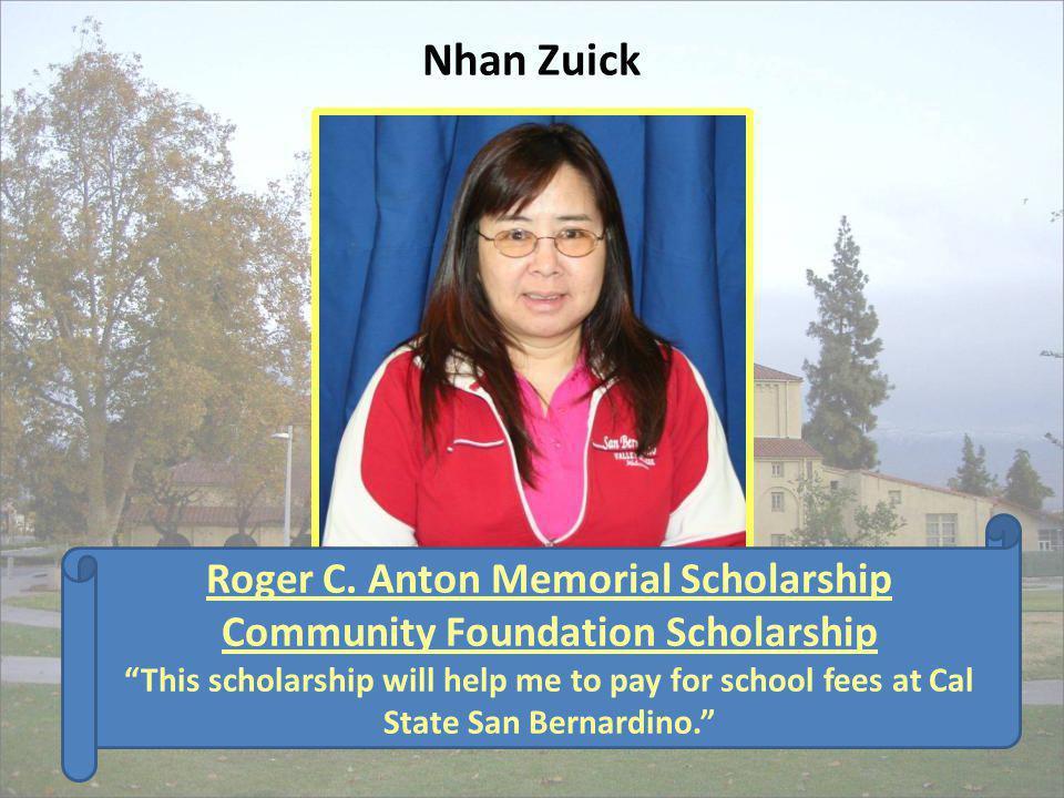 Roger C. Anton Memorial Scholarship Community Foundation Scholarship