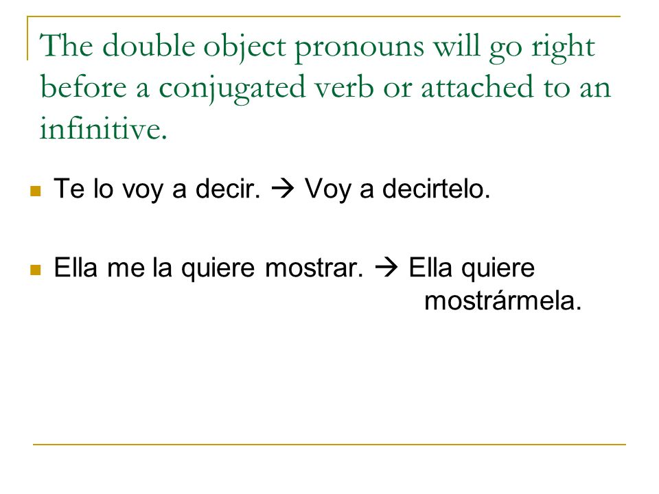 The double object pronouns will go right before a conjugated verb or attached to an infinitive.