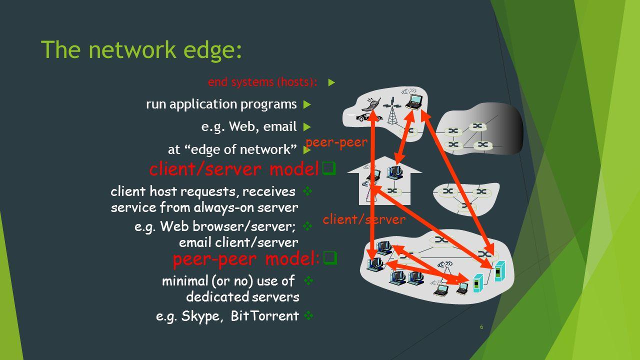 The network edge: client/server model peer-peer model: