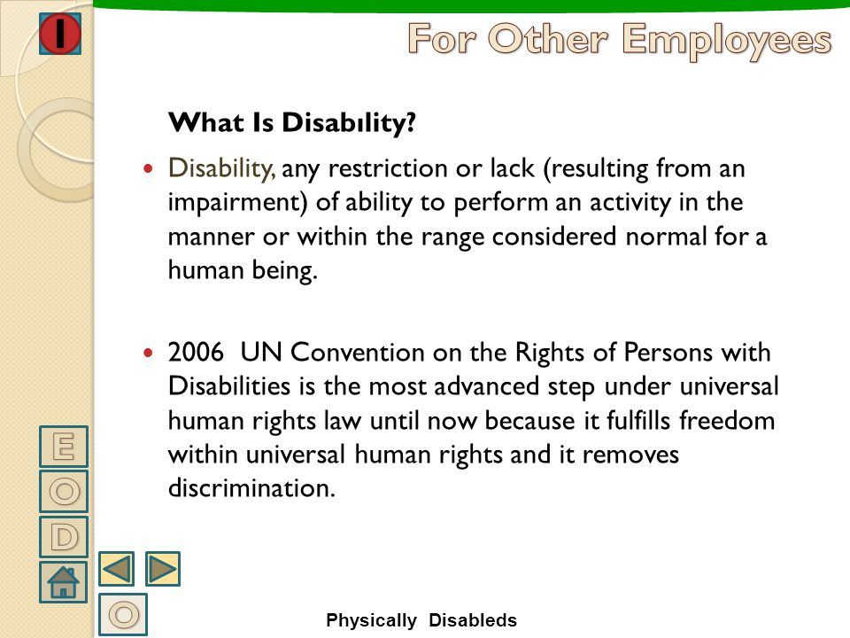 For Other Employees E O D O What Is Disabılity