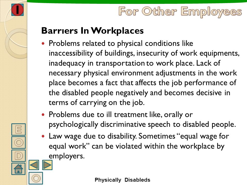 For Other Employees E O D O Barrıers In Workplaces