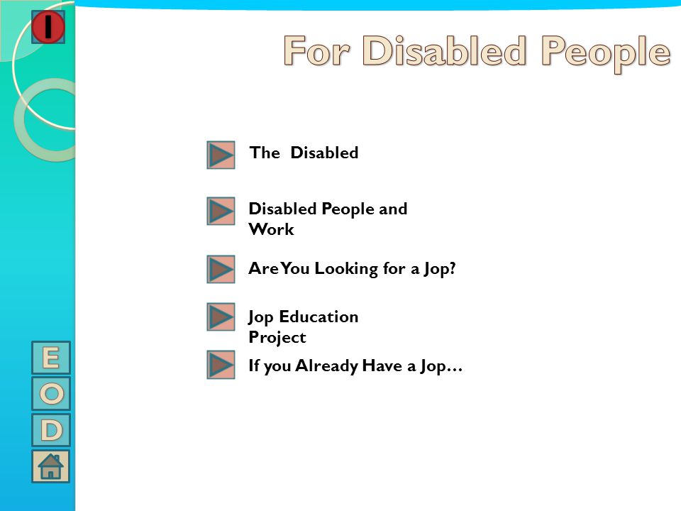 For Disabled People E O D The Disabled Disabled People and Work