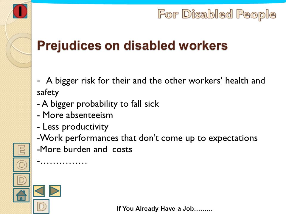 Prejudices on disabled workers