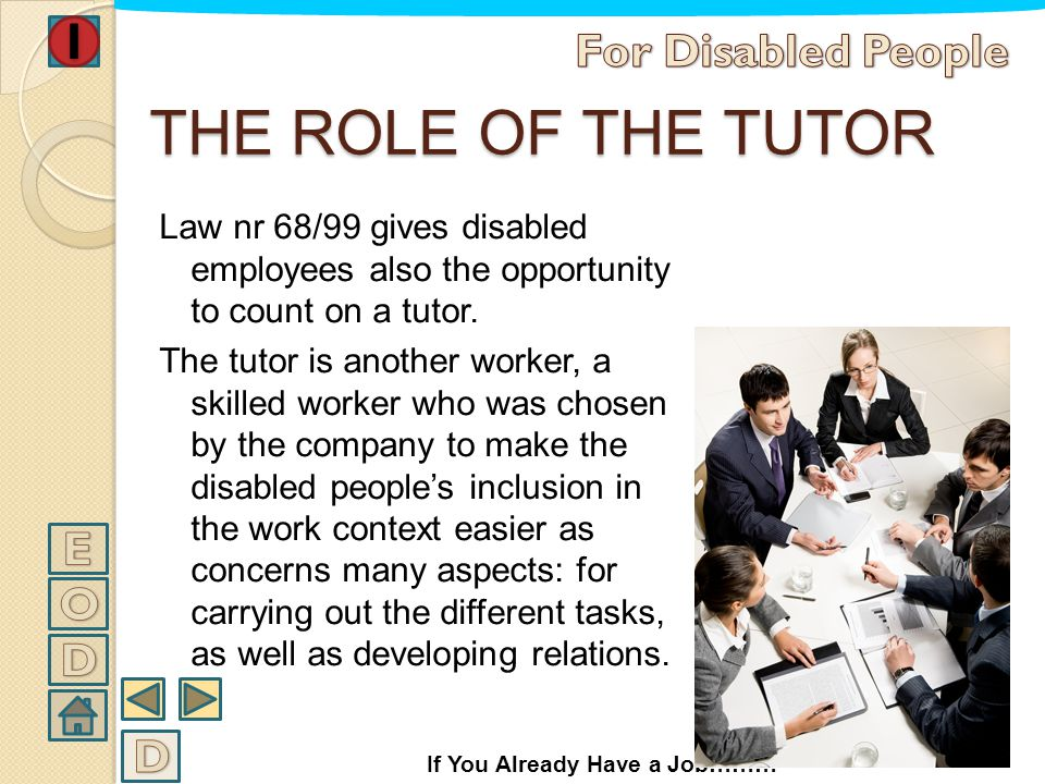 THE ROLE OF THE TUTOR For Disabled People E O D D
