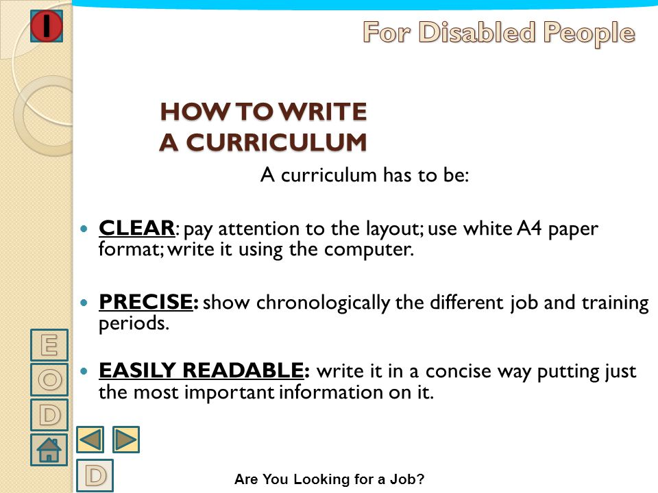 HOW TO WRITE A CURRICULUM