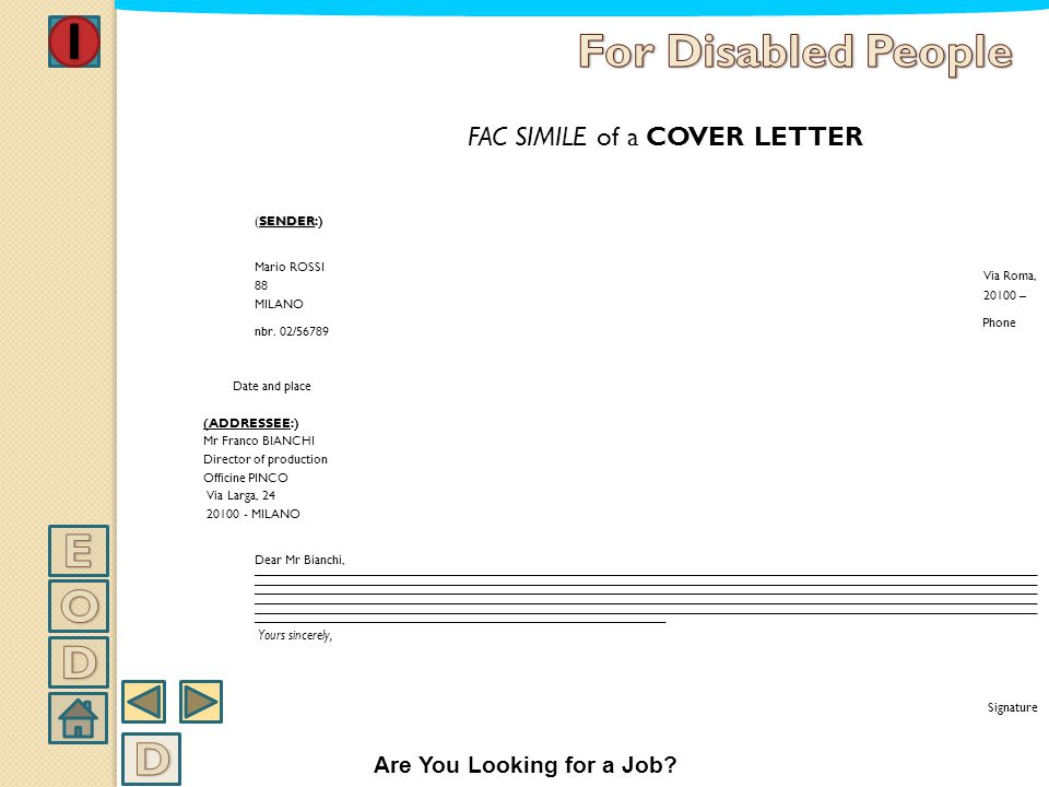 FAC SIMILE of a COVER LETTER