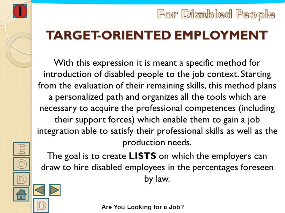 TARGET-ORIENTED EMPLOYMENT
