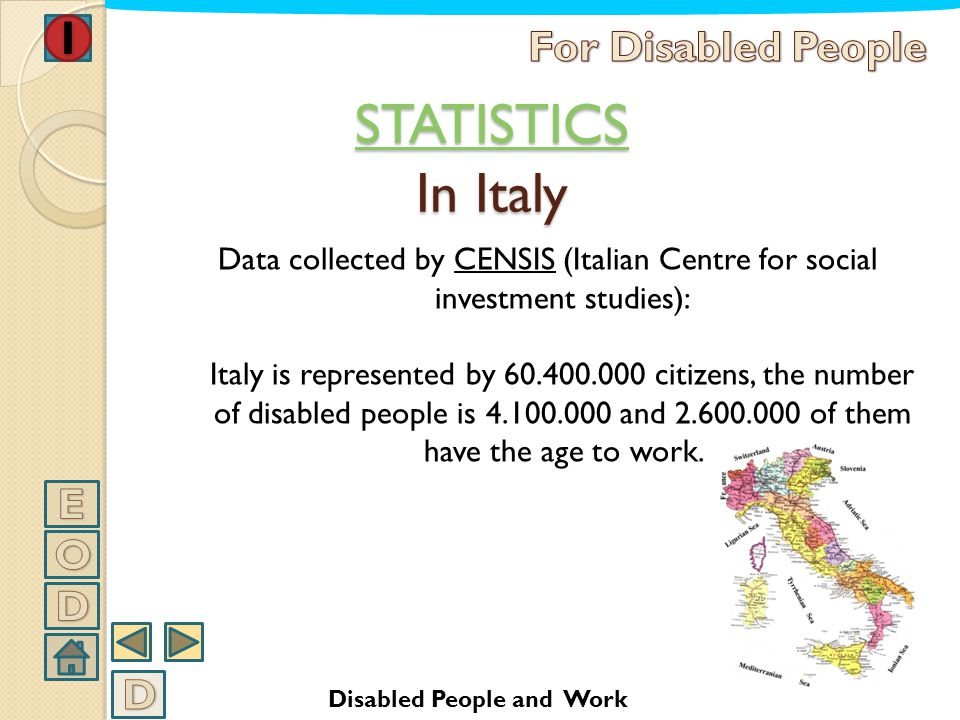 STATISTICS In Italy For Disabled People E O D D