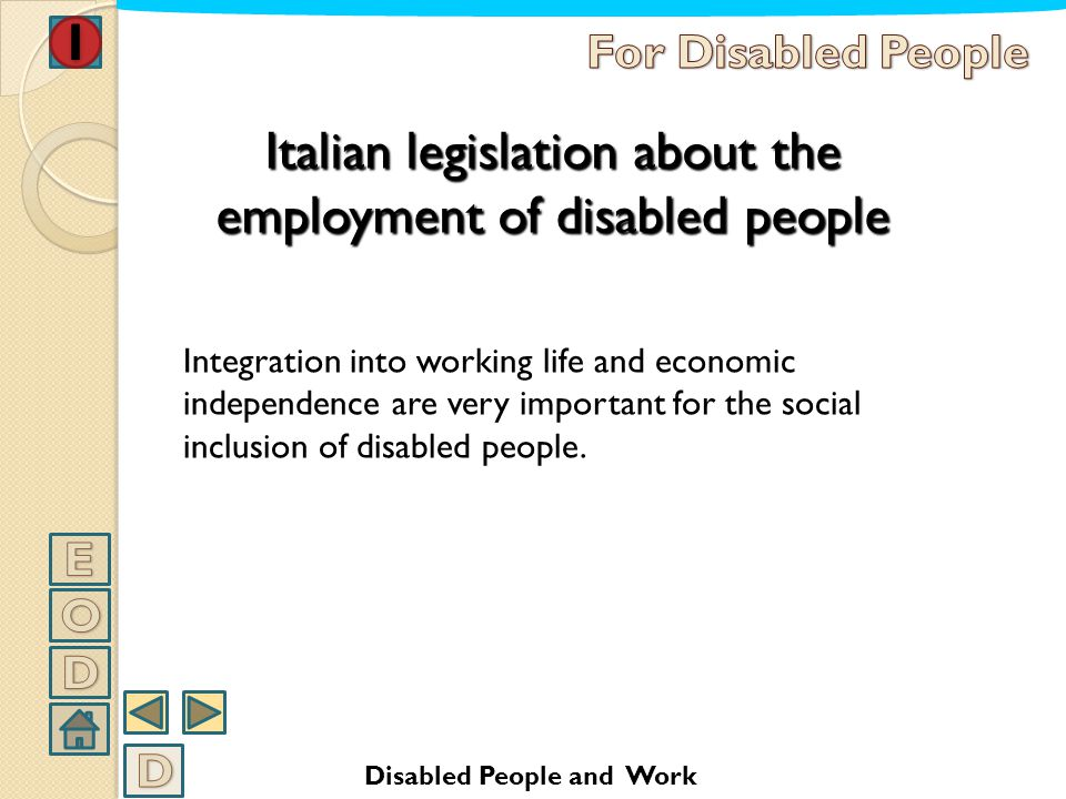 Italian legislation about the employment of disabled people