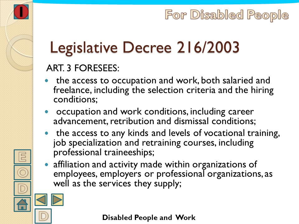 Legislative Decree 216/2003 For Disabled People E O D D