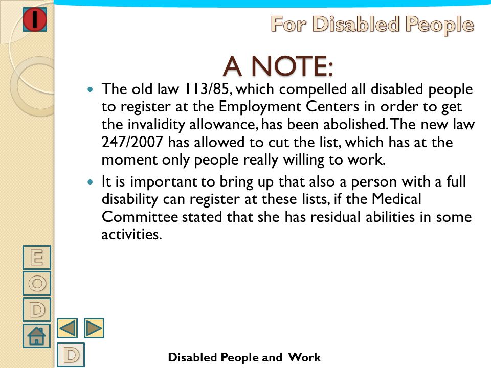 A NOTE: For Disabled People E O D D