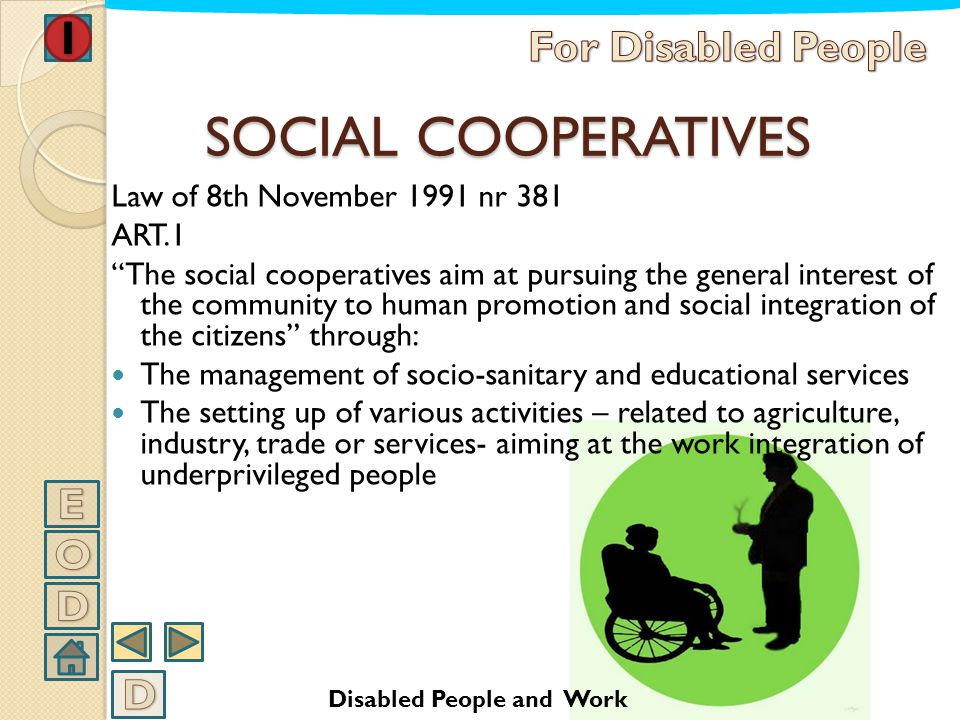 SOCIAL COOPERATIVES For Disabled People E O D D