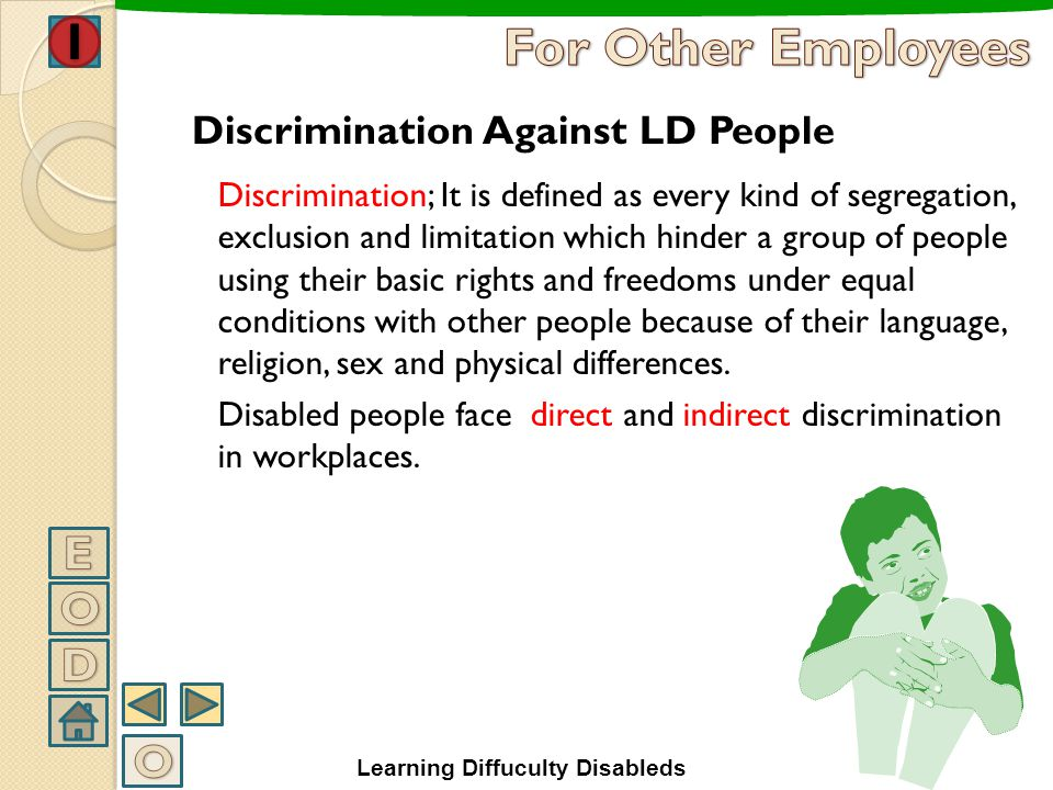 For Other Employees E O D O Discrimination Against LD People