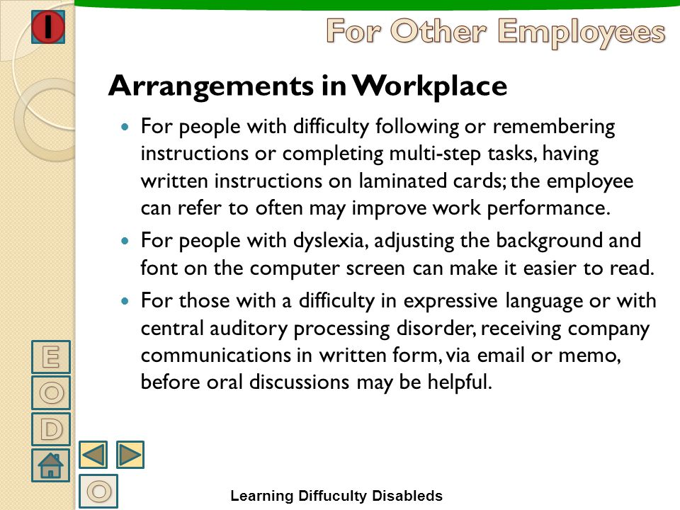 For Other Employees Arrangements in Workplace E O D O