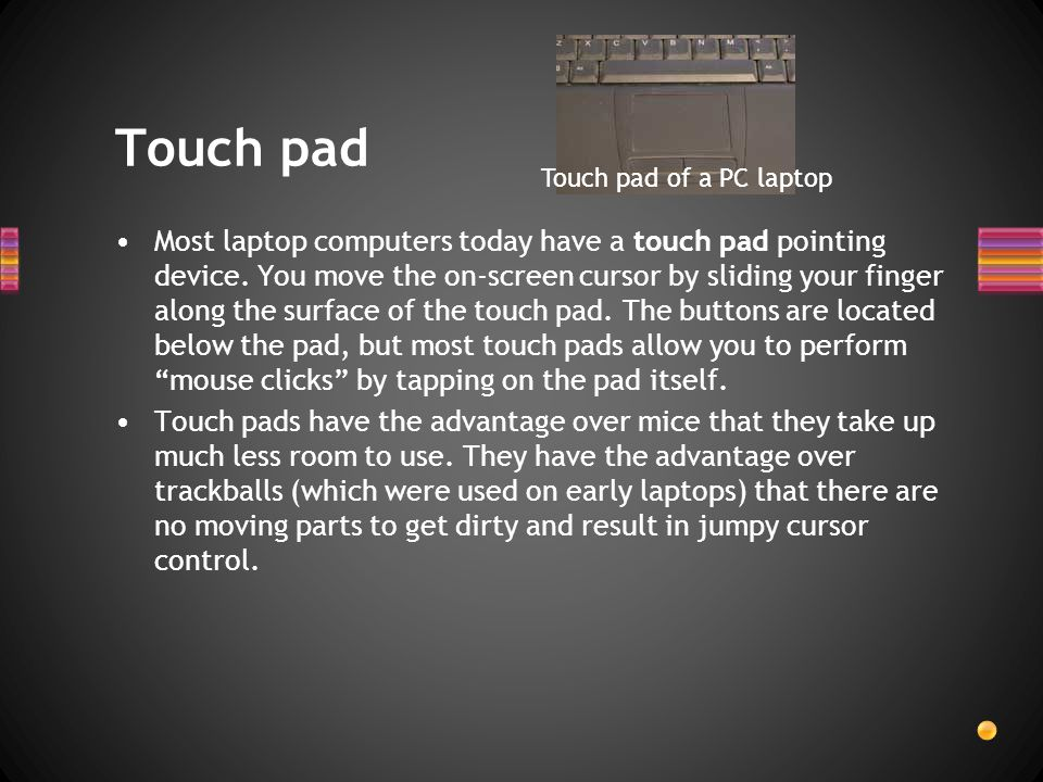 Touch pad Touch pad of a PC laptop.