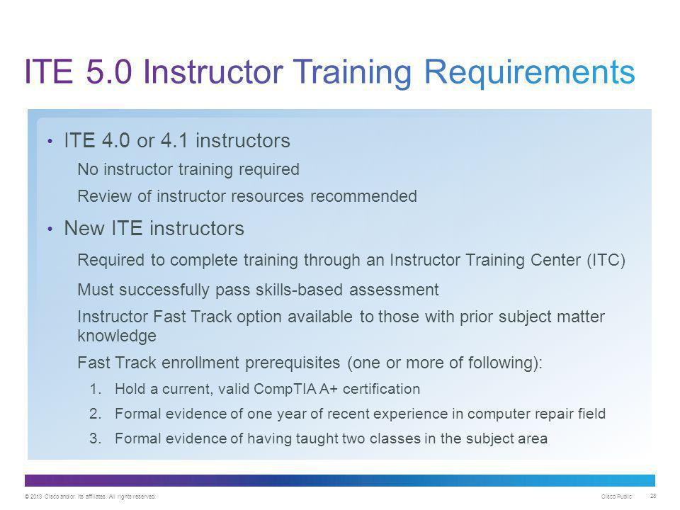 ITE 5.0 Instructor Training Requirements