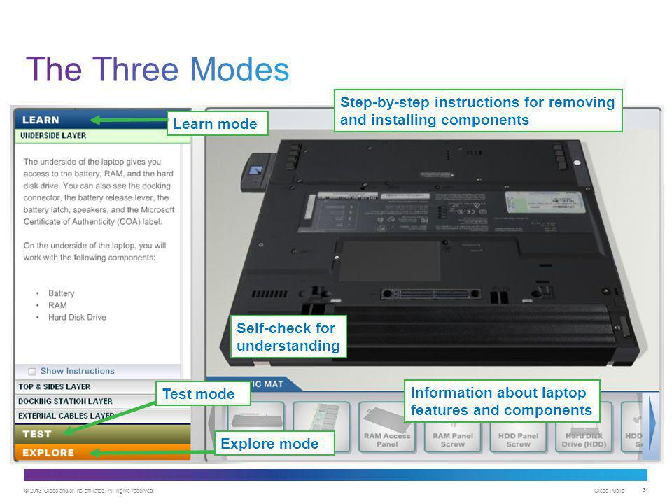 The Three Modes Step-by-step instructions for removing and installing components. Learn mode. Self-check for understanding.