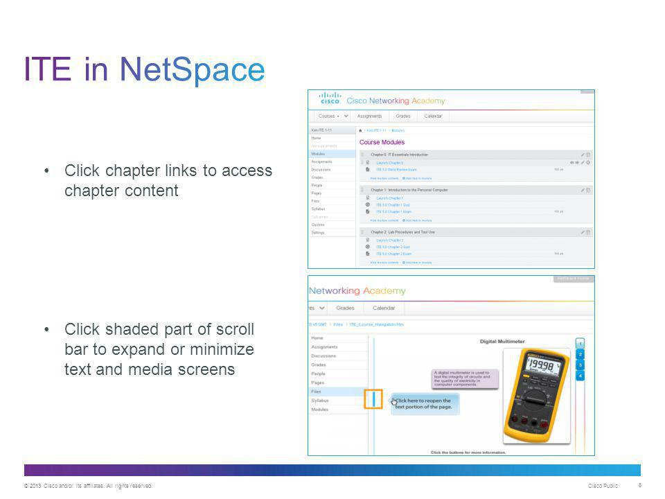 ITE in NetSpace Click chapter links to access chapter content