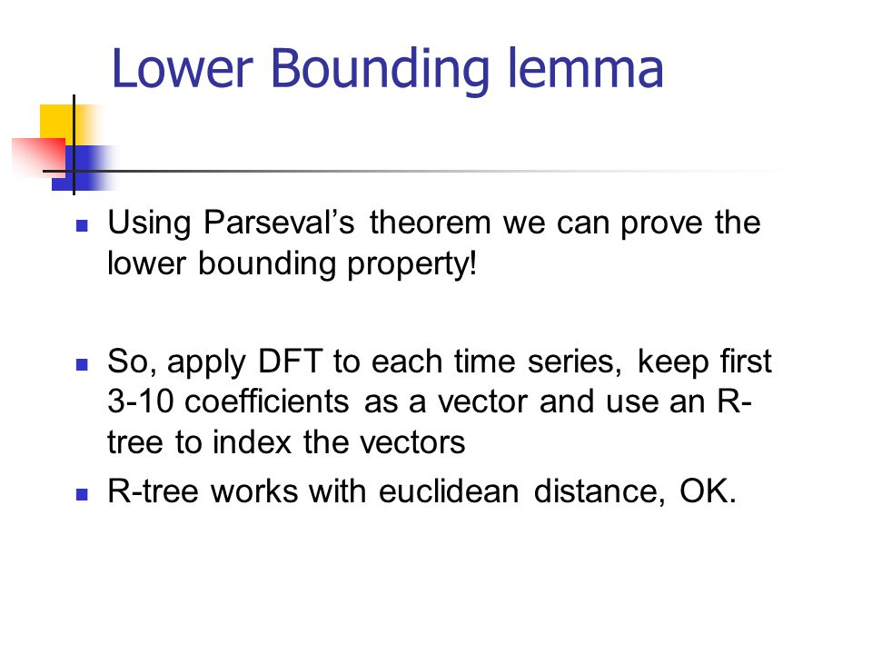 Lower Bounding lemma Using Parseval's theorem we can prove the lower bounding property!
