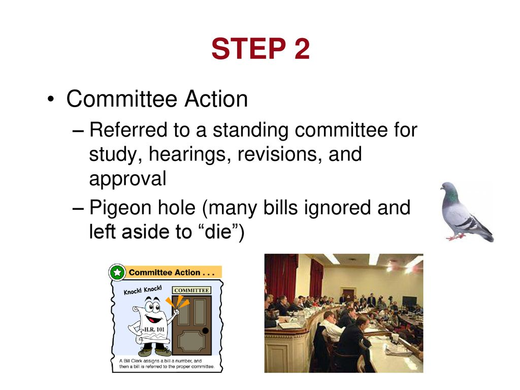 STEP 2 Committee Action. Referred to a standing committee for study, hearings, revisions, and approval.