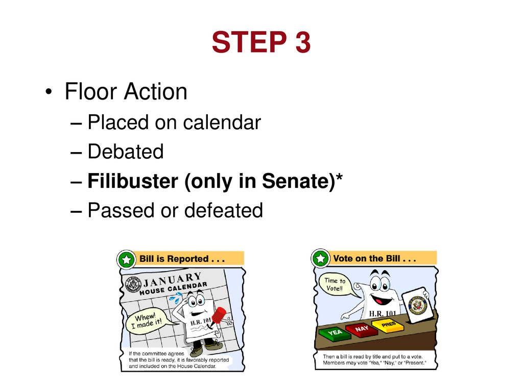 STEP 3 Floor Action Placed on calendar Debated