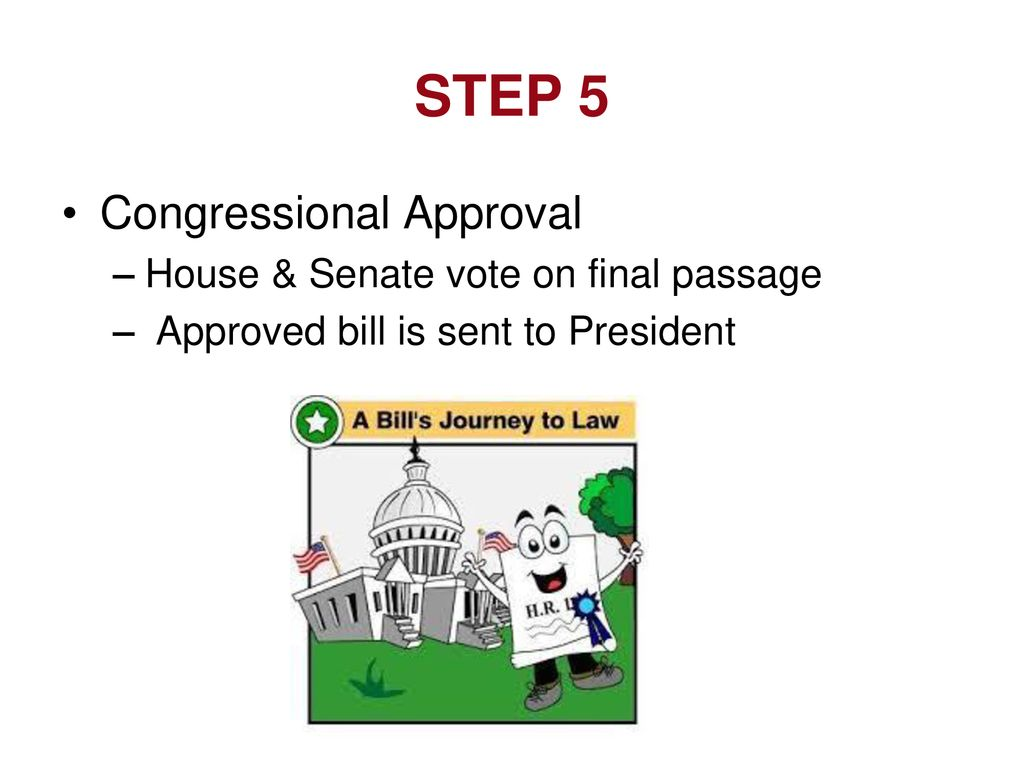 STEP 5 Congressional Approval House & Senate vote on final passage