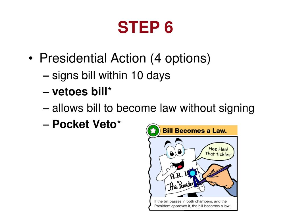 STEP 6 Presidential Action (4 options) signs bill within 10 days