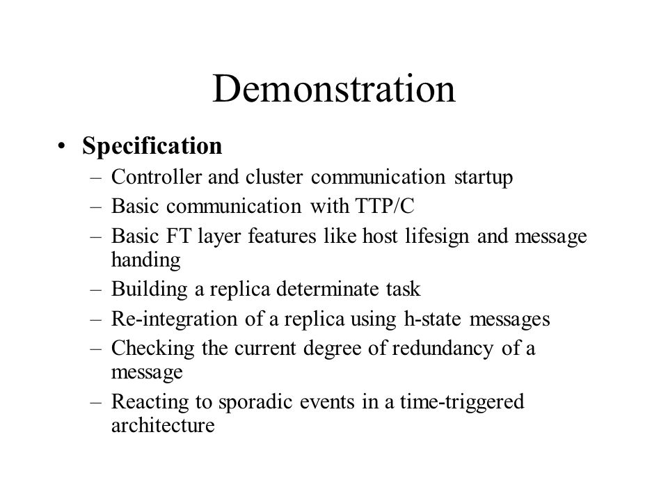 Demonstration Specification