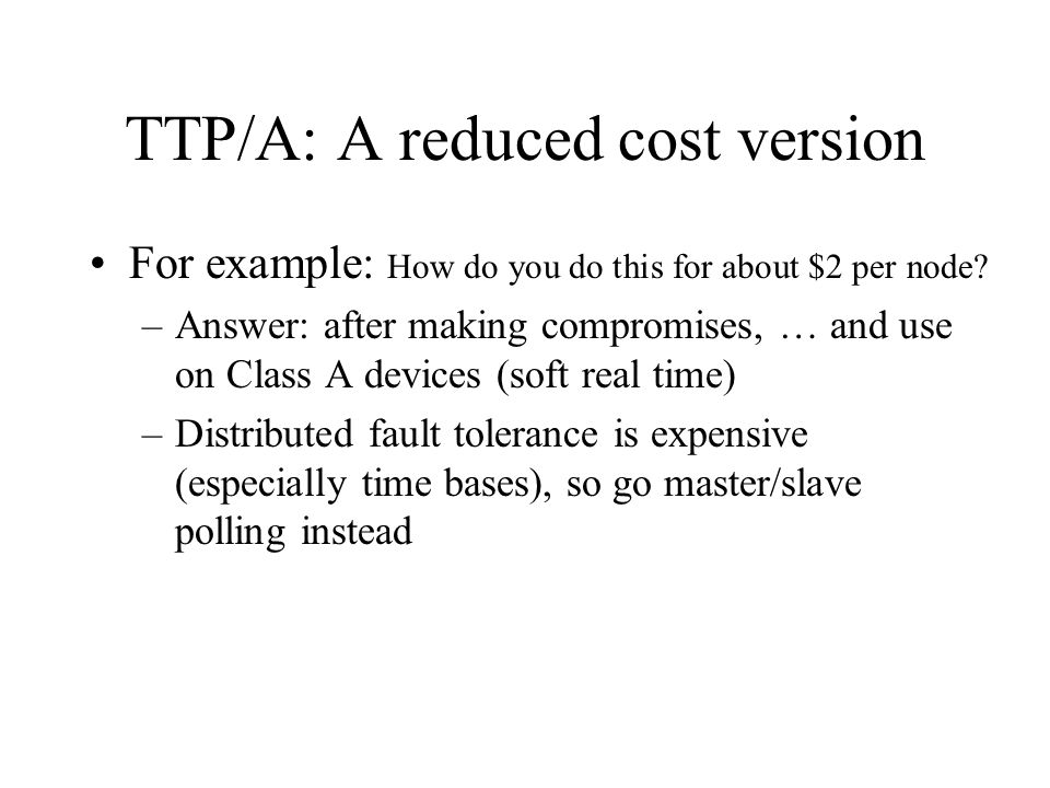 TTP/A: A reduced cost version