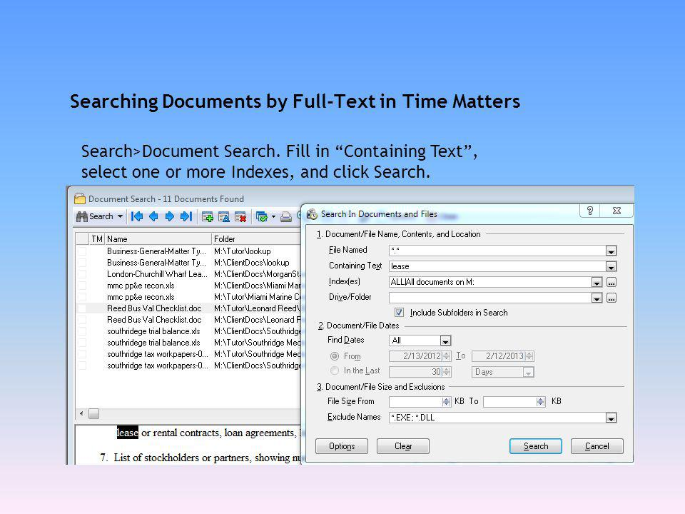 Searching Documents by Full-Text in Time Matters
