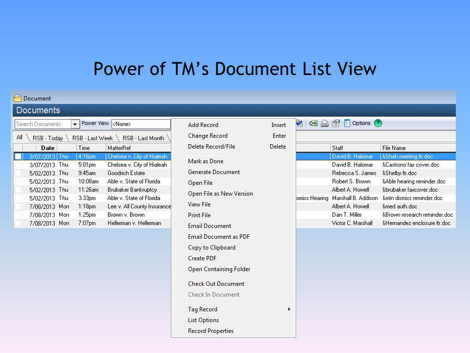 Power of TM's Document List View