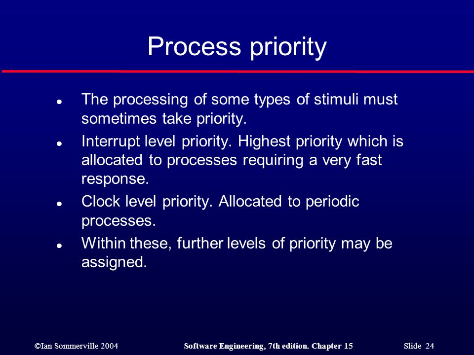 Process priority The processing of some types of stimuli must sometimes take priority.